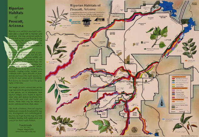 Map Of Arizona Prescott.Riparian Habitats Of Prescott Arizona Map