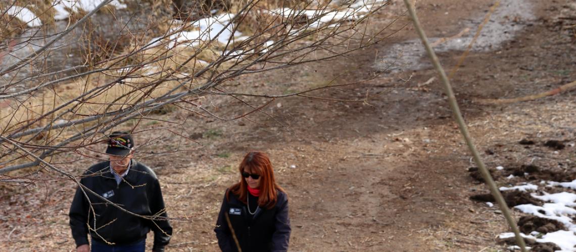 Image: Council Members Goode & Rusing walk Granite Creek contemplating improvements
